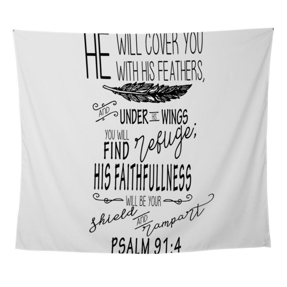 CafePress - Psalm 91:4 Christian Bible Verse - Wall Tapestry