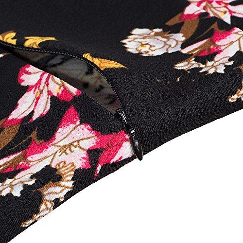 del de HOMEYEE Cuello del Corto Cuello del Negro Soporte de Corta de Manga Floral la Cuero Vendimia la B430 Negocio nWfxIxrBYR