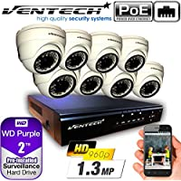 VENTECH POE Security Camera System 8CH NVR 1080P CCTV Kit with 8 Dome Cameras Outdoor (1.3MP) 2TB H-Drive, Easy Remote Smartphone Access,100ft Night Vision