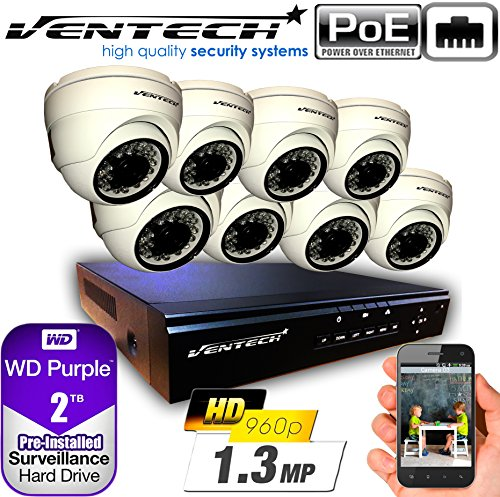 VENTECH POE Security Camera System 8CH NVR 1080P CCTV Kit with 8 Dome Cameras Outdoor (1.3MP) 2TB H-Drive, Easy Remote Smartphone Access,100ft Night Vision by VENTECH (Image #7)
