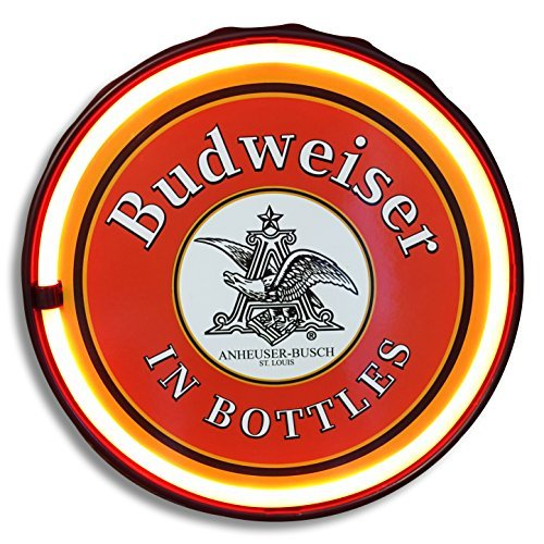 Officially Licensed Anheuser Busch Budweiser Beer In Bottles Led Neon Light Rope Sign  12  Round Bottle Cap Shape  Battery Or Plug In Powered  Wall Decor For Home  Man Cave  Garage    Bar