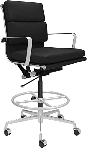 SOHO Soft Pad Drafting Chair – Ergonomically Designed and Commercial Grade Draft Height for Standing Desks Black