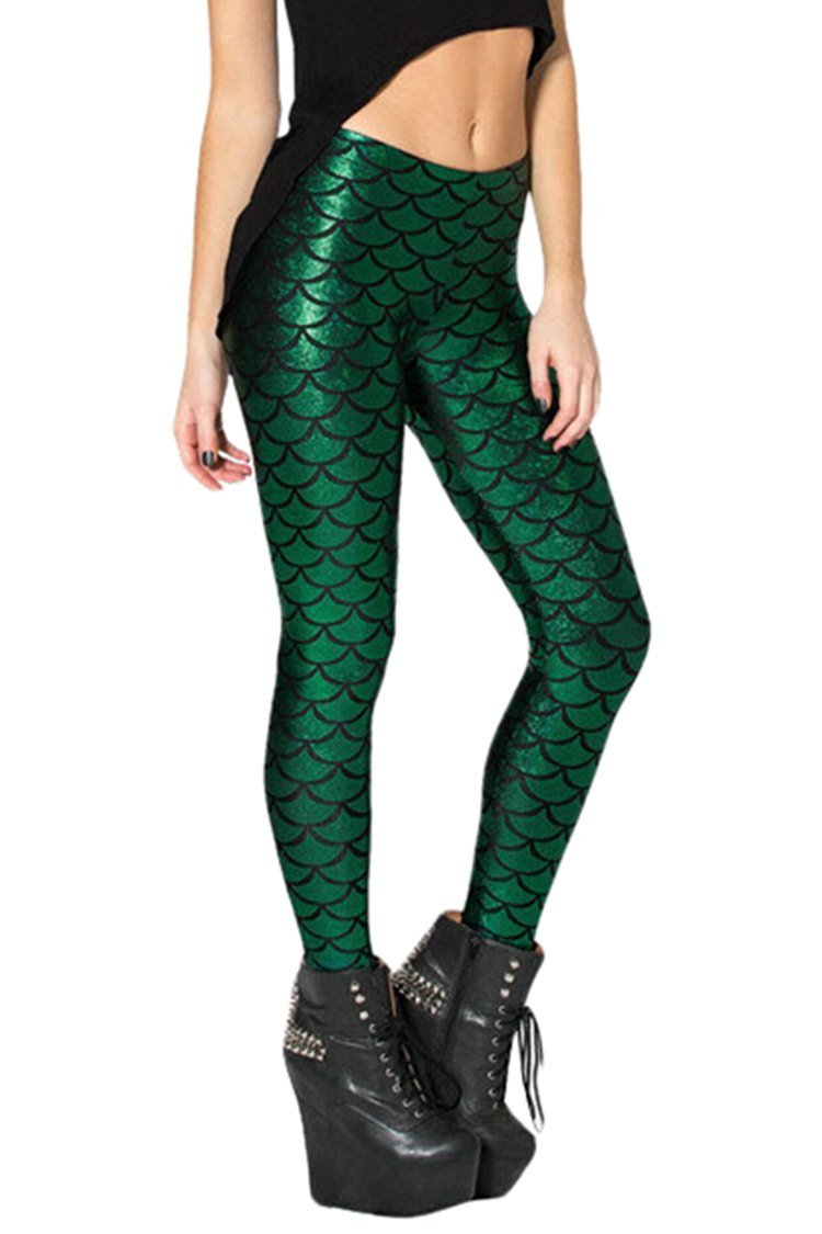 Alaroo Shiny Fish Scale Mermaid Leggings for Women Pants Green Plus 4XL by Alaroo (Image #5)