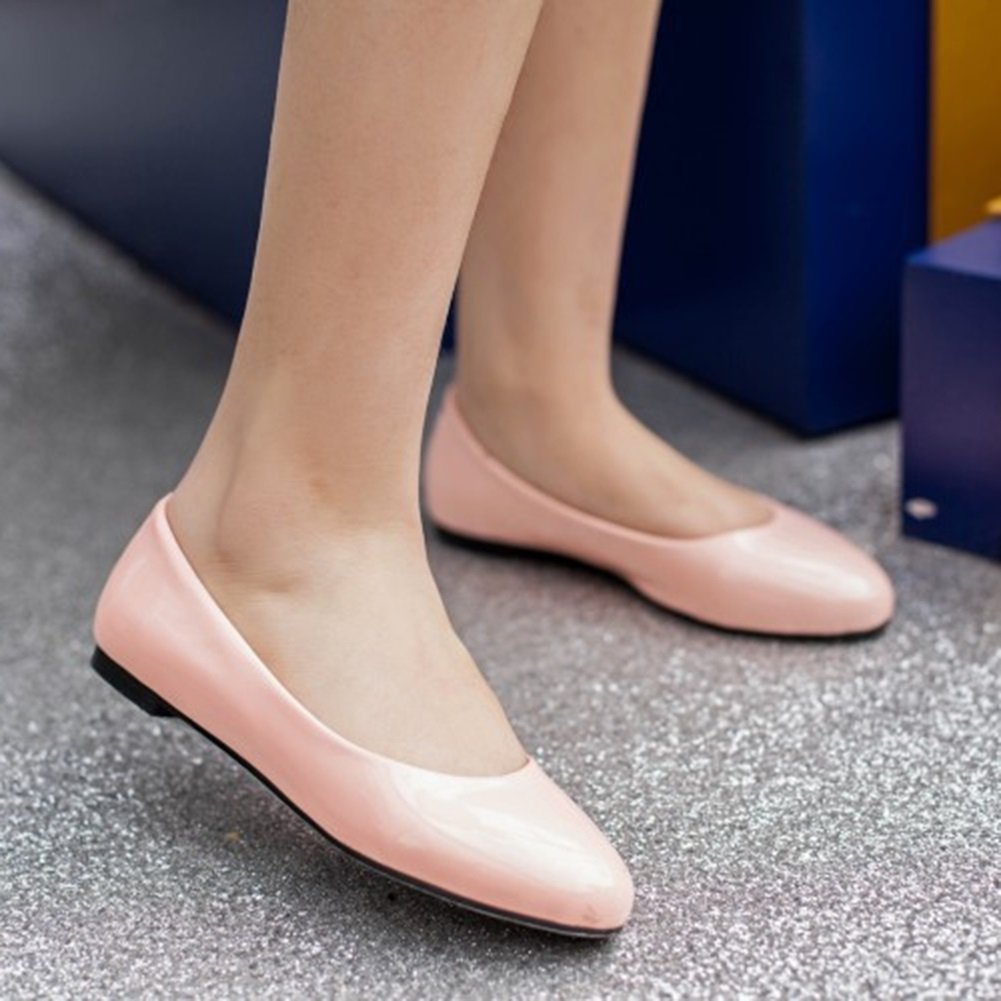 Womens Shoes Artificial PU Spring Summer Comfort Shallow Mouth Single Shoes Ladies Flat Shoes White Red Black Pink