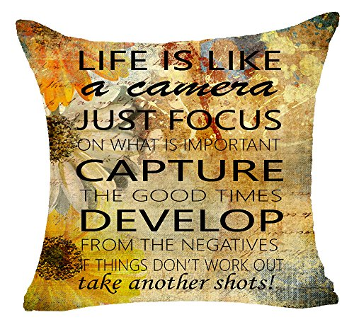 Retro Sunflowers Background Life Is Like A Camera Just Focus On What Is Important Cotton Linen Pillowcase Cover Case For Sofa Living Room Office Decorative Throw Pillow Case Cover Square 18X18 inch (The Is Sofa Best What Brand)