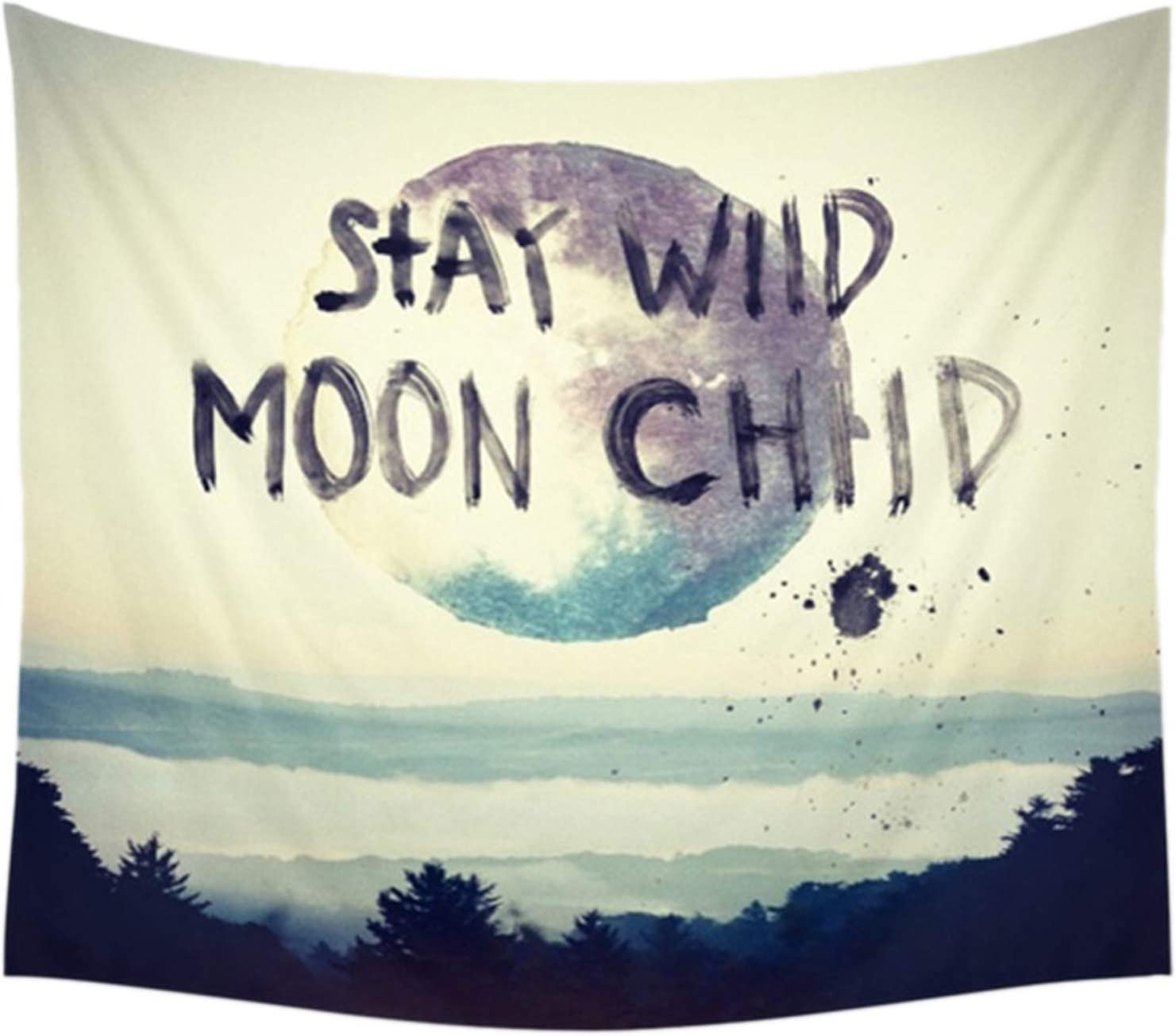 Felu Wall Hanging Tapestries, Stay Wild and Moon Wall Art Tapestry Boho Hippie Handicraft Curtain for Children's Room Dorm Home Decor 59x79 Inchs