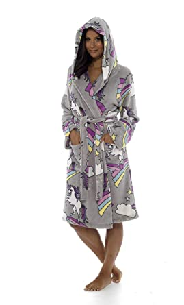 Ladies Girls Mumdaughter Matching Unicorn Grey Dressing Gown Mother