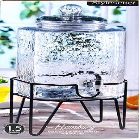 Amazon.com: Hamburg Beverage Dispenser on Stand, 1.5 gal, Made of Glass by Stylesetter: Home & Kitchen