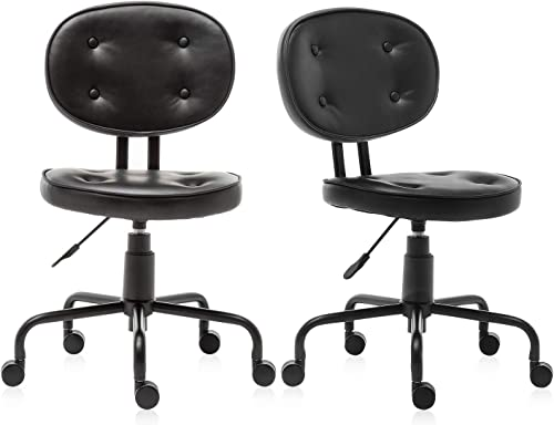 2-Packs Ergonomic Office Chair Desk Chair Black Computer Chair Back Support Modern with Wheels Armless Task Chair Conference Room Chairs for Women, Men
