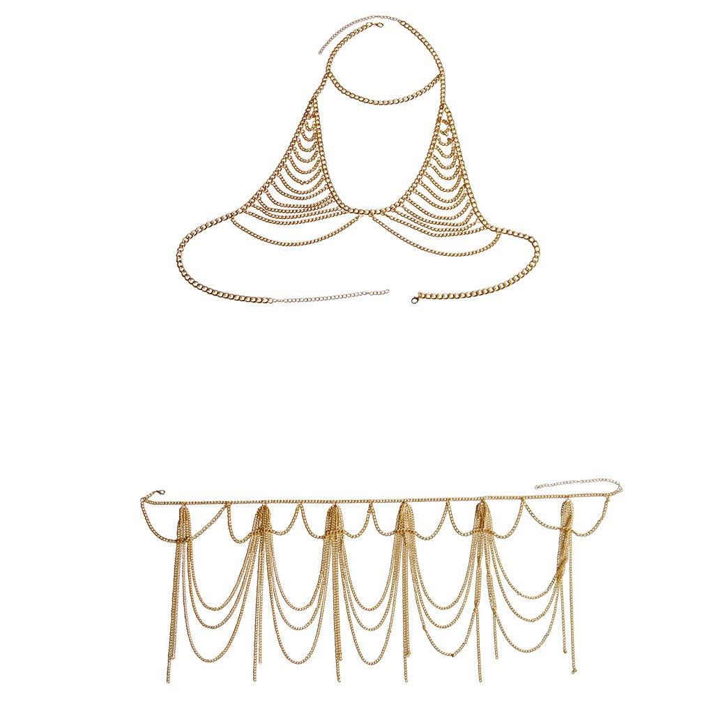 Sexy Body Chain Set Geometry Metal Mesh Jewelry Chains Top Belly Waist Chain for Summer Dress Bikini Swimsuit Beach Party Halloween Birthday Gift (Gold02)