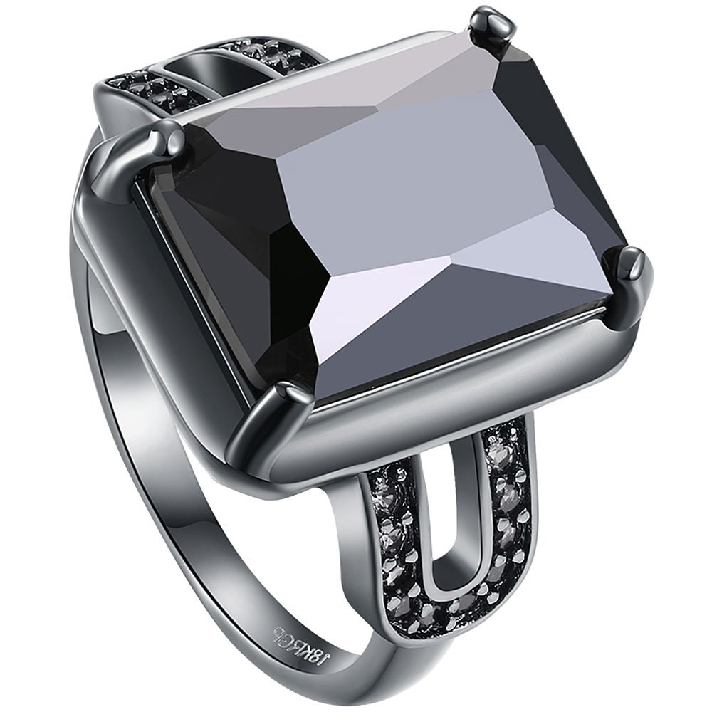 AWLY Jewelry Women 18k Black Gold Square Large Stone Princess Cut Cubic Zirconia CZ Solitaire Wedding Ring ALJ-587