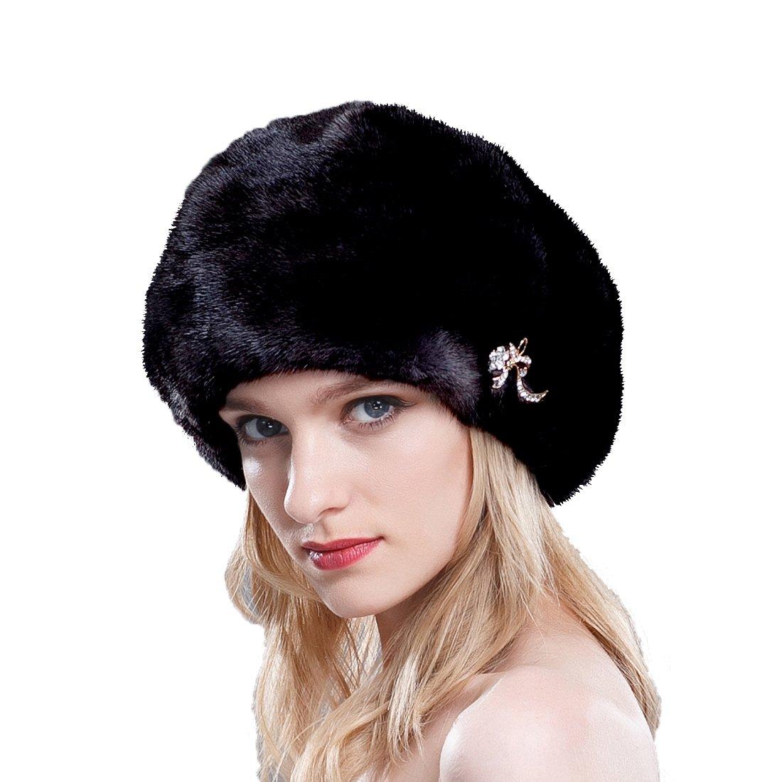 URSFUR Ladie's Mink Full Fur Beret Hats (One Size, Black)