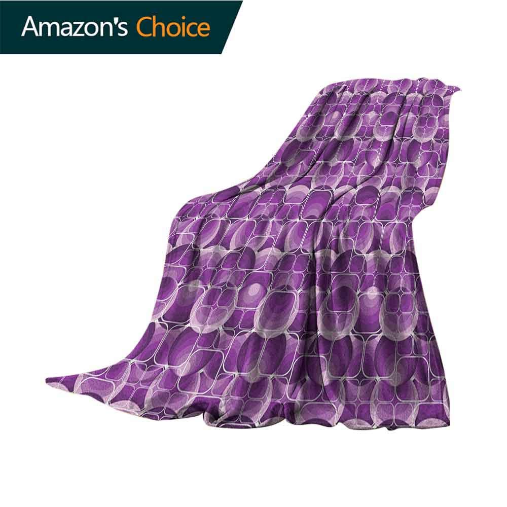 Retro Blanket,Vintage Trippy Pattern with Inner Circles and Squares Kitsch Ornamental Urban Style Microfiber All Season Blanket for Bed or Couch Multicolor,30'' Wx50 L Lilac Purple