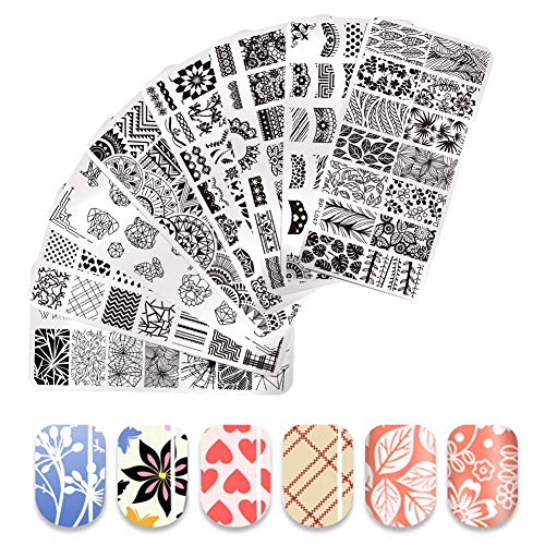 BORN PRETTY Nail Art Stamp Templates Lace Flower Heart Grids Design Stamping Image 8Pcs Rectangle Stamp Plates ()