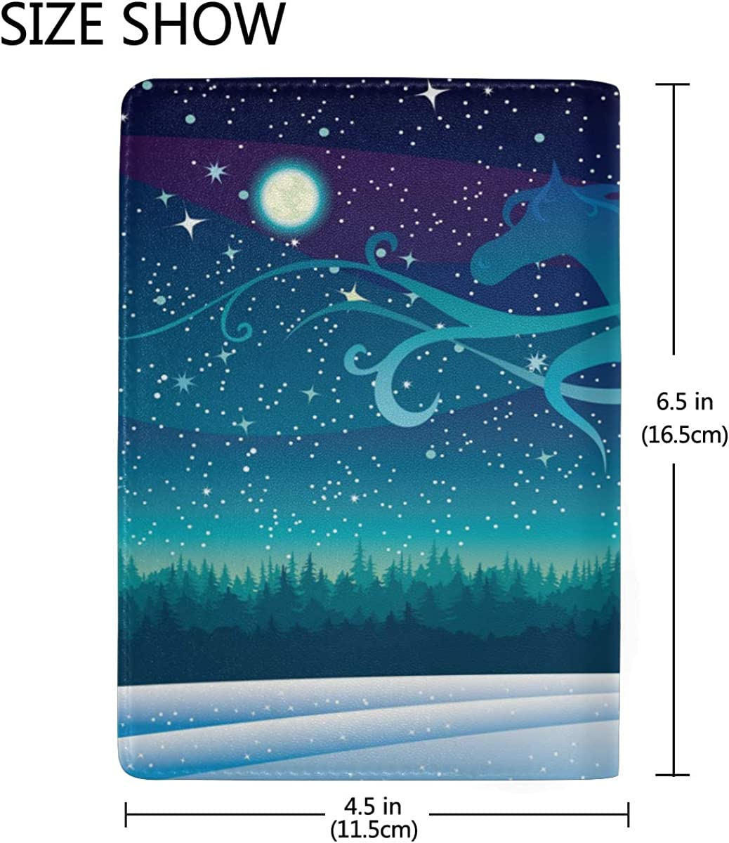 Genuine Leather Snowflake Tree Starry Night Horse Passport Holder Cover Case Travel Wallet
