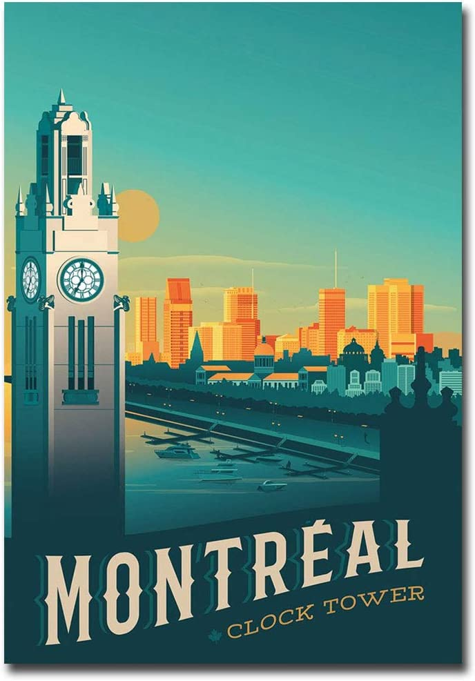 "Montreal Clock Tower Travel Vintage Art Refrigerator Magnet Size 2.5"" x 3.5"""