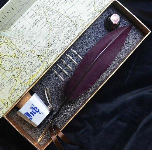 11-Inch-White-Color-Antique-Feather-Quill-Dip-Pen-With-Pen-Holder-Ink-Jar-LL-19