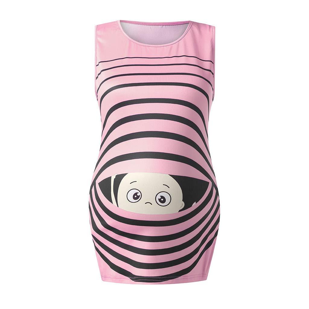 Dsood Blouses for Pregnant Women,Women's Print Baby Maternity Round Neck Sleeveless Top Vest,Women's Fashion,Black,L