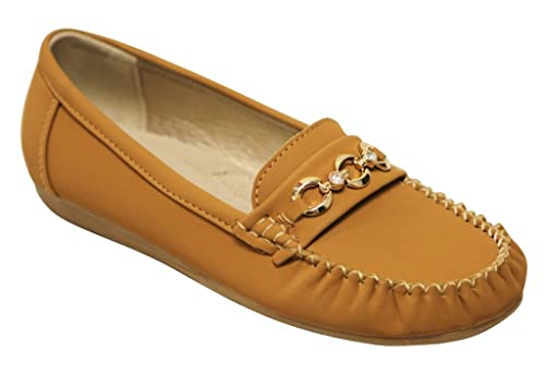 a91d0989b355b5 Amazon.com  Belladia Boss-03 Women s Round Toe Moccasin Rhinestone Golden  Buckle Suede Slip on Flat Shoes Tan 6.5  Clothing