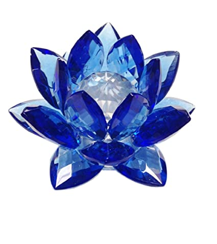 Amlong crystal 3 inch Feng Shui blue crystal lotus