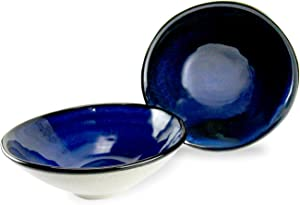 roro Hand-Molded Stoneware Ceramic Blue-Gray Conical Shallow Bowl, 7 Inch