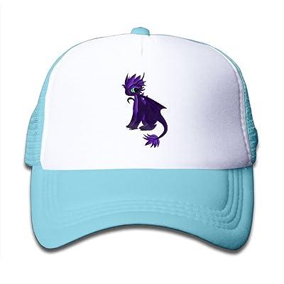 Mesh Baseball Caps Snapback Hats Cute Purple Dinosaur Boys-Girl Adjustable