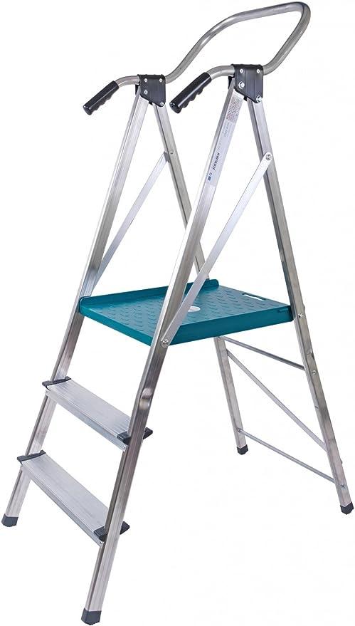 Aluminio Escalera de seguridad (con plataforma pie escalera – Escalera de 150 kg: Amazon.es: Hogar