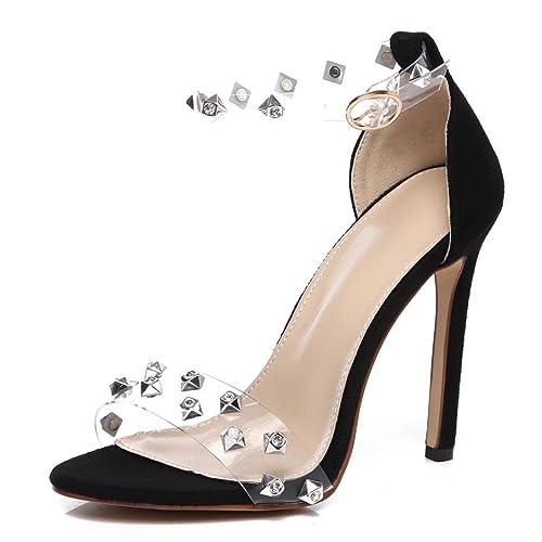 Sandalen??Honestyi Damenmode Einfarbig Wildleder Schleife Haspe Flache Ferse Karree Sandalen Outdoor Schuhe Flache