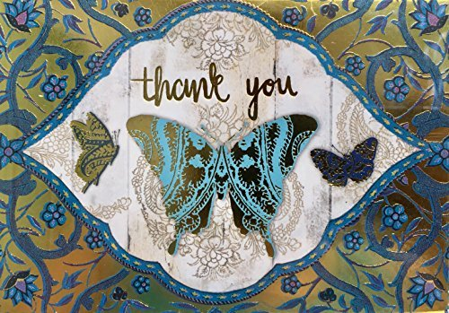 Punch Studio Window Boxed Set 12 Gold Foil Thank You Note Cards ~ Blue Paisley Butterfly 61605 (Studio Paisley Blue)