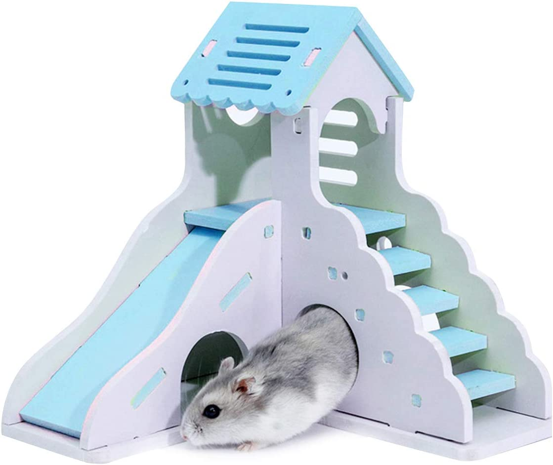 Pet Home Hideout Exercise Toys for Squirrels//Gerbils//Hamsters//Golden Bears//Small Animals Dual-Layer Pet Funny Play Nest with Stairs Slide Ayunjia Wooden Double-Decker Hamster House Hut