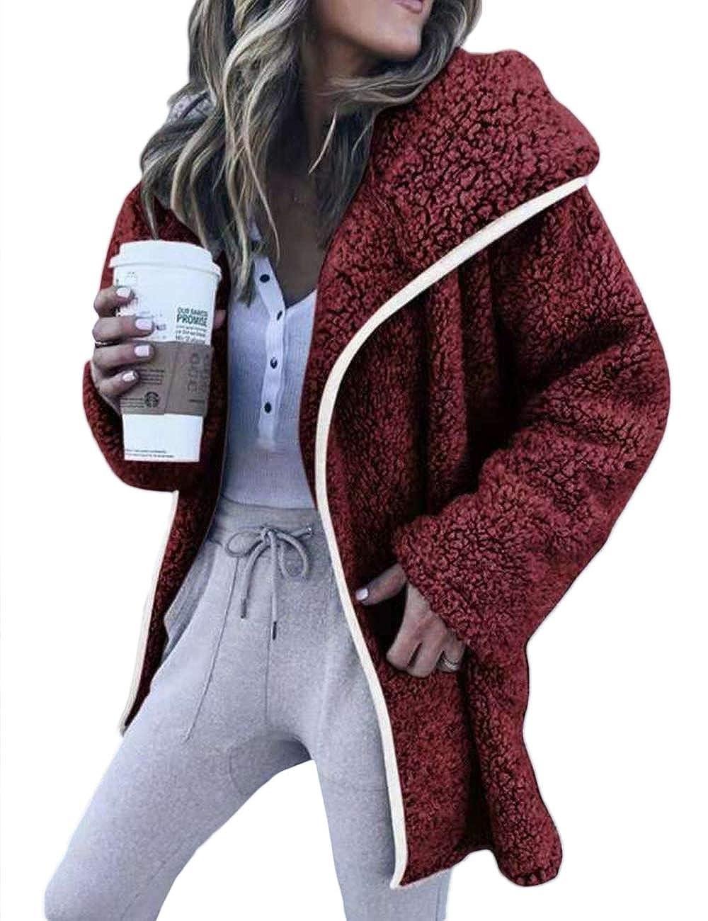 XXXITICAT Women's Fuzzy Casual Oversized Long Sleeve Wool Faux Fur Teddy Warmest Coat