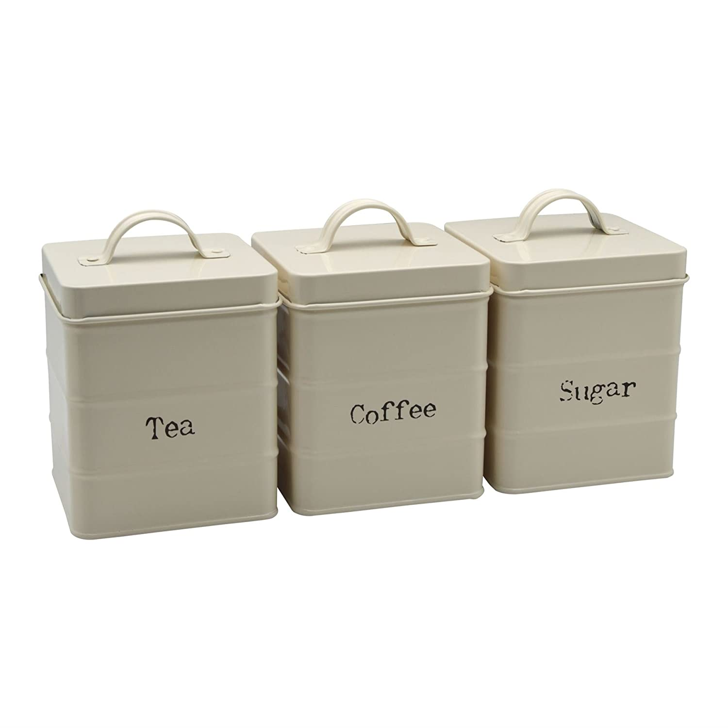 Harbour Housewares Metal Tea, Coffee, Sugar Canister Set - Cream
