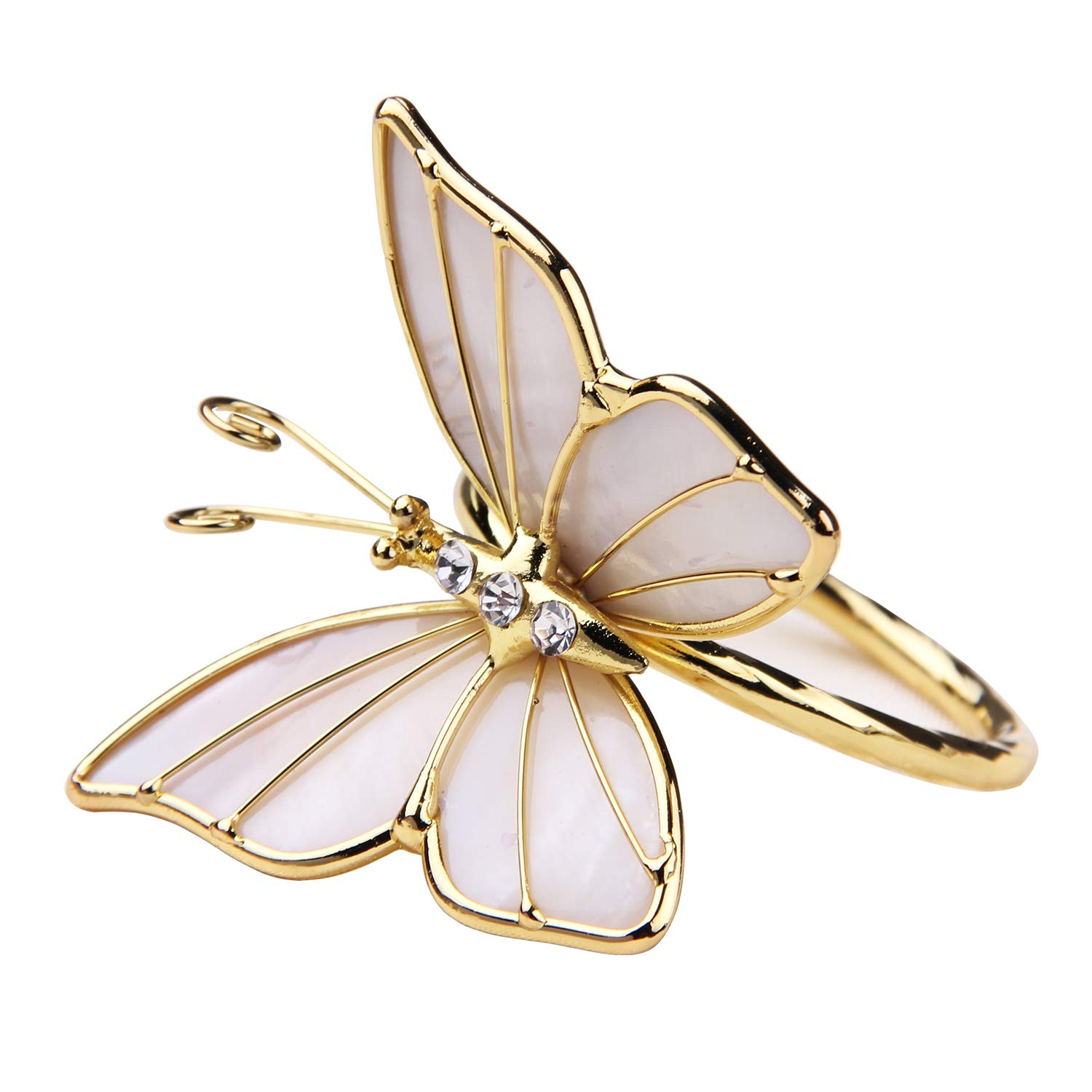 JINHAICHU Butterfly Napkin Rings Set of 2 Metal Table Napkin Rings Shell Rhinestone Napkin Rings Modern Napkin holder rings for Wedding Hotel Party Table Decor Gift (Silver) JINHAICHU Home NR-BF-01
