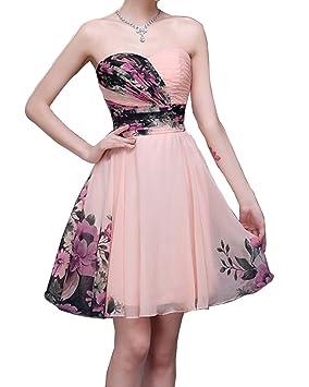 LaoZan Vestidos de Fiesta para Bodas Floral Corto Vestido de noche Bustier Elegante y Encantador -