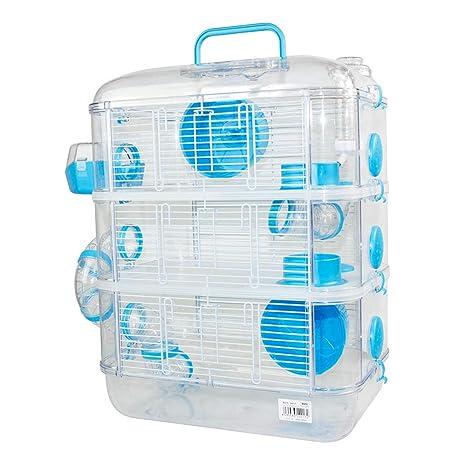 Jaulas para Hamster de plástico Duro, Jaula de Hamster XL 3 Pisos Hamster caseta Bebedero comedero Rueda Todo Incluido 40 * 26 * 53cm(3 Piso, Azul)
