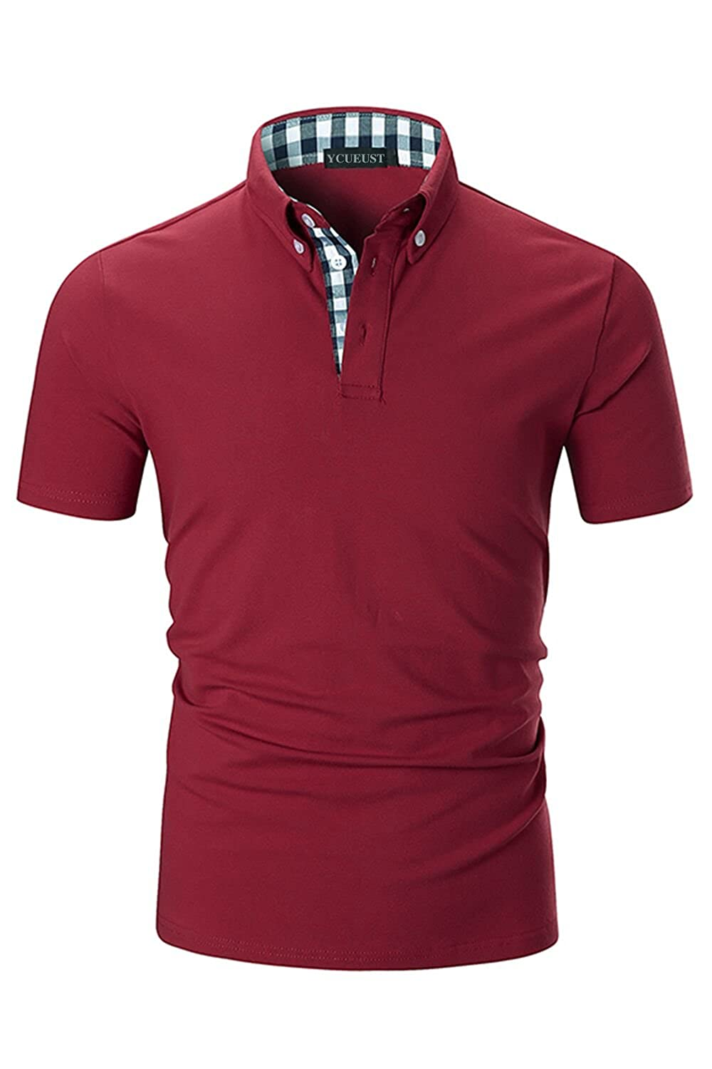 YCUEUST Mens Polo T-Shirts Casual Short Sleeve Plaid Collar Polos YCHENG07848YC