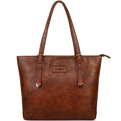 ZMSnow Vegan Leather Tote Designer Handbags for Women Girls (Brown ...