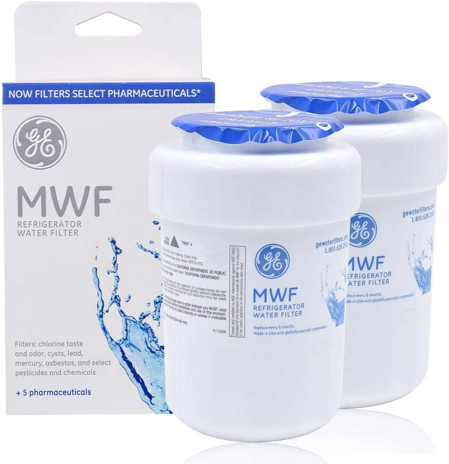 Genuine GE MWF 46-9991 MWF, MWFA, MWFP, GWF, GWFA, GWF01, GWF06 WF28 Smart Water Fridge Water Filter (Pack of 2)