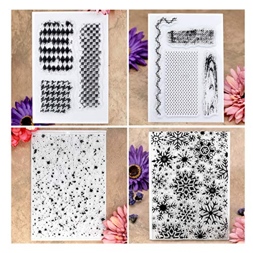Kwan Crafts 4 Sheets Different Style Dots Snowflake Background Clear Stamps for Card Making Decoration and DIY Scrapbooking