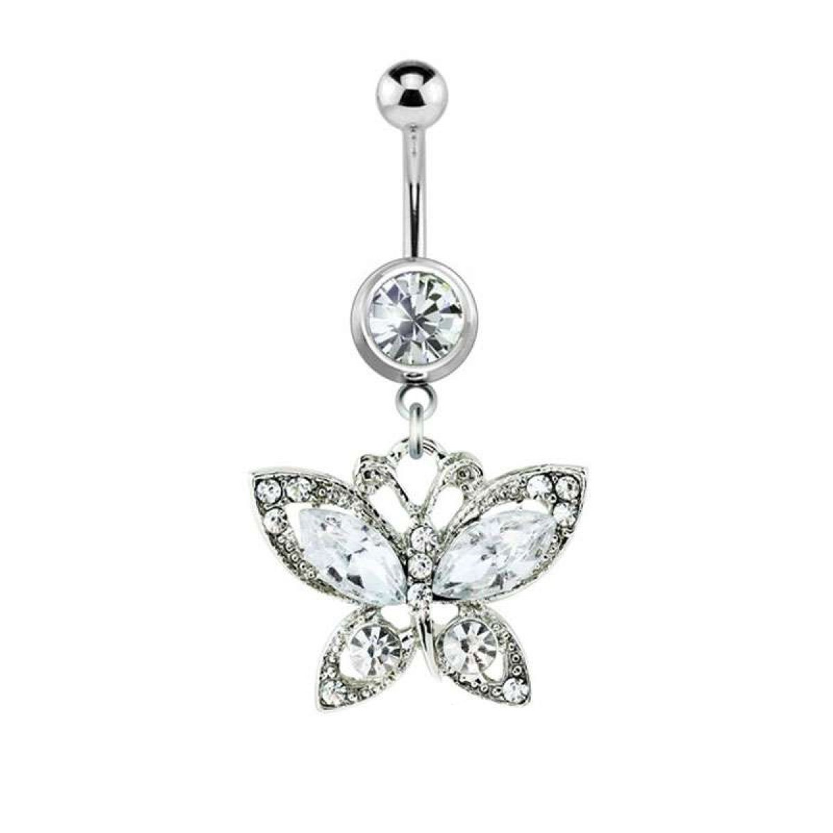 Dynamique 316L Surgical Steel Gem Butterfly Dangle Belly Button Ring by Dynamique