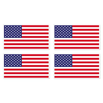 dealzEpic - USA Flag/America Flag/US Flag - Self Adhesive Peel and Stick Vinyl Mac Decal/Car Bumper Sticker - 3.94 x 2.13 inches | Pack of 4 Pcs : Office Products