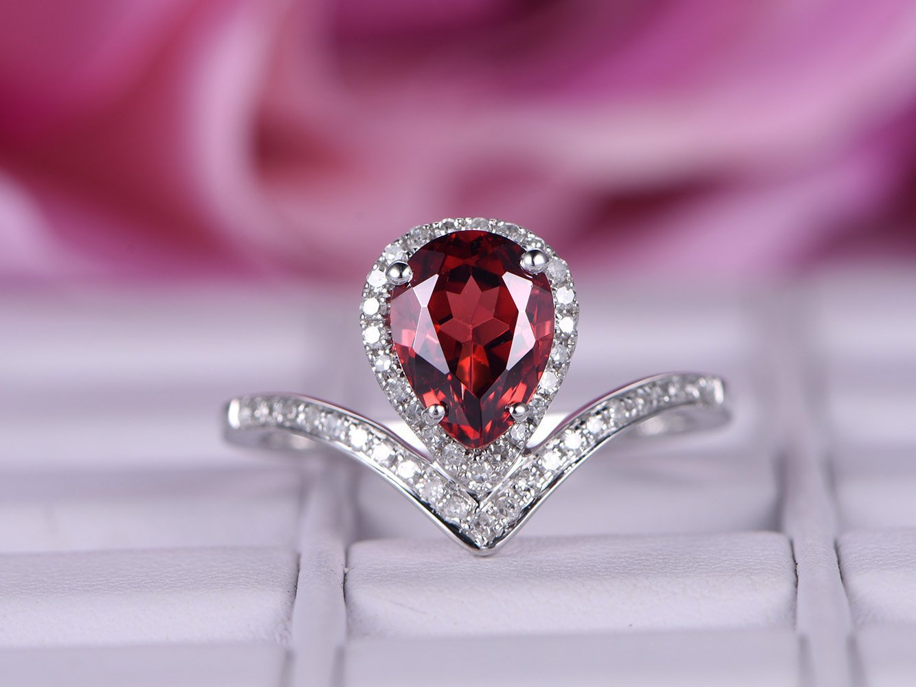 Pear Garnet Engagement Ring Pave Diamond Wedding 14k White Gold 6x8mm