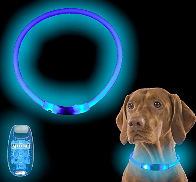 Atlecko Ultra Bright USB Rechargeable Light Up Dog Collar & LED Harness Collar Light - Cut To Fit Any Size
