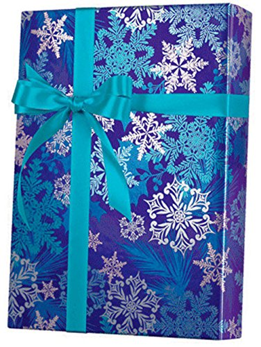 Snowflake Swirl Metallic Wrapping Paper Wrap Roll 24 Inch X 15 Feet]()