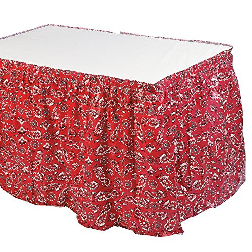 Fun Express - Red Bandana Print Tableskirt for Party - Party Supplies - Table Covers - Table Skirts - Party - 1 Piece]()