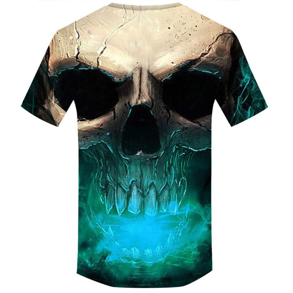 Allywit Skull T Shirt Skeleton T-Shirt Gun Tshirt Gothic Shirts Punk Tee 3D t-Shirt Anime Male Styles Green by Allywit-Mens (Image #2)