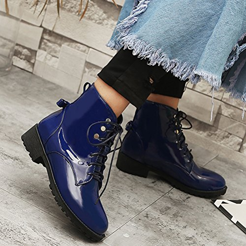 Slip Flat Blue Leather Patent Ankle Shoes Lace Agodor Winter Platform Up On Boots Warm Womens 5Yacxqz