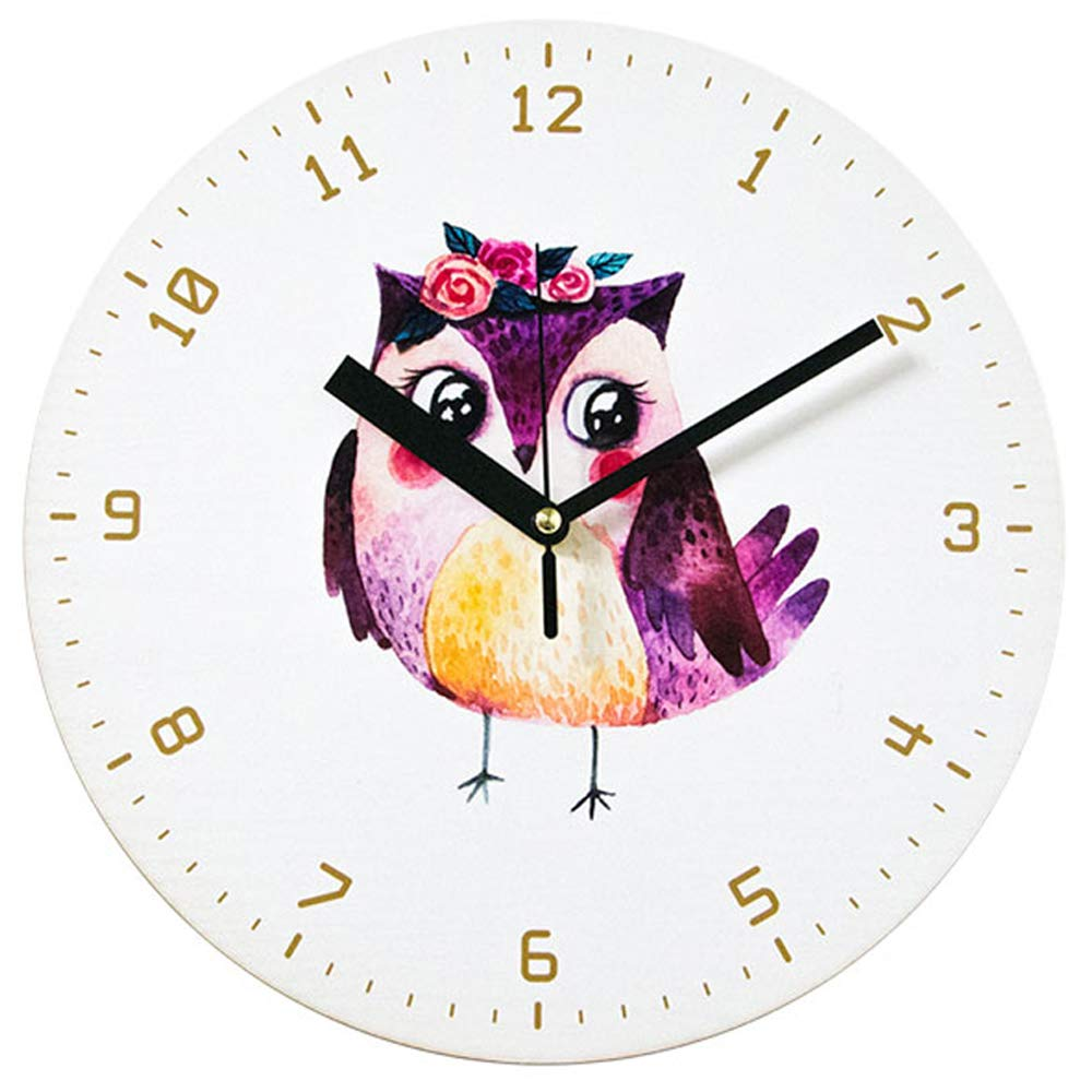 Bronzehouse Decorative 11.8'' Round Wall Clock Silent & Non-Ticking Quartz Movement Owl Clock (Pink)