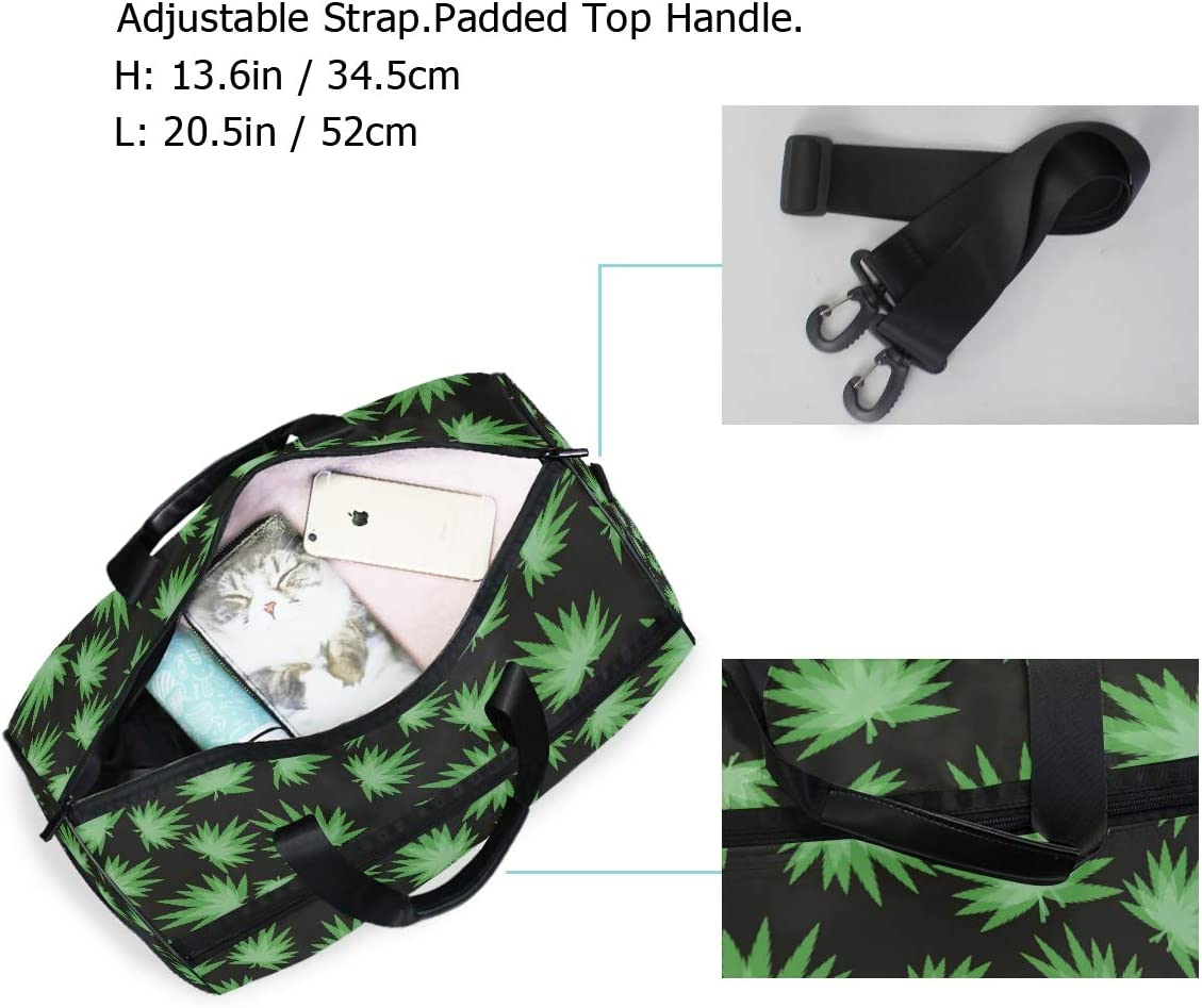 AHOMY Green Marijuana Leaf Sports Gym Bag with Shoes Compartment Travel Duffel Bag