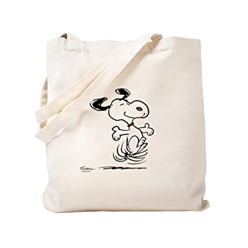8d92dbe7a0a Amazon.com: CafePress - Snoopy- Dancing Dog - Natural Canvas Tote ...